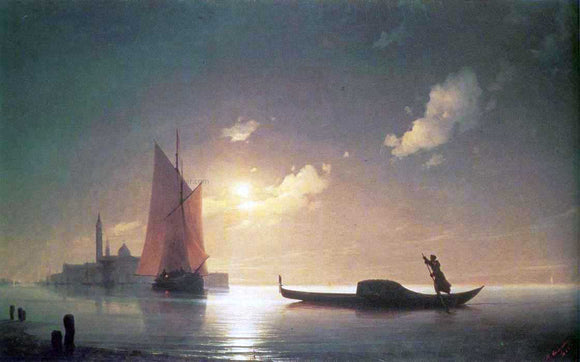 Ivan Constantinovich Aivazovsky The Gondolier on Sea at Night - Canvas Art Print