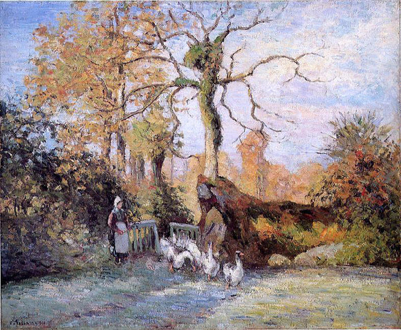 Camille Pissarro The Goose Girl at Montfoucault, White Frost - Canvas Art Print