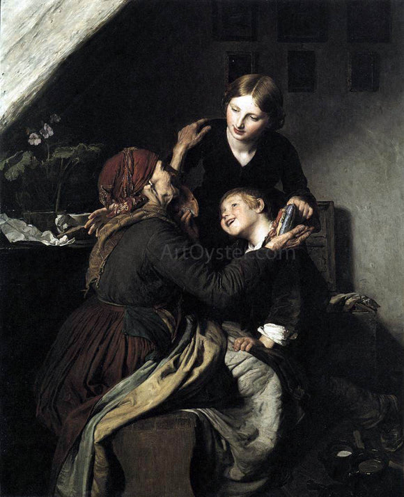 Ferdinand Georg Waldmuller The Grandmother's Birthday - Canvas Art Print