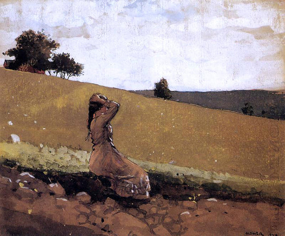 Winslow Homer The Green Hill (also known as On the Hill) - Canvas Art Print