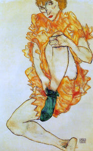 Egon Schiele The Green Stocking - Canvas Art Print