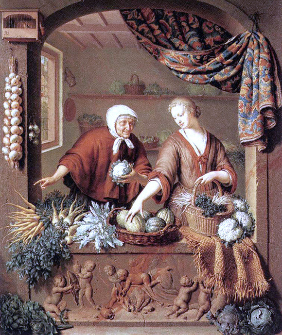 Willem Van Mieris The Greengrocer - Canvas Art Print