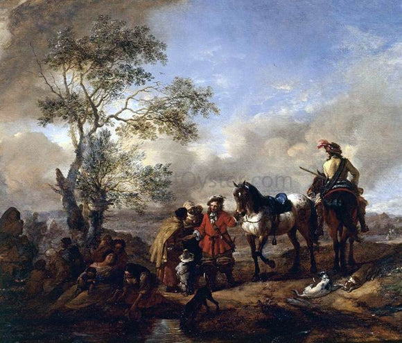 Philips Wouwerman The Halt at a Gypsy Camp - Canvas Art Print