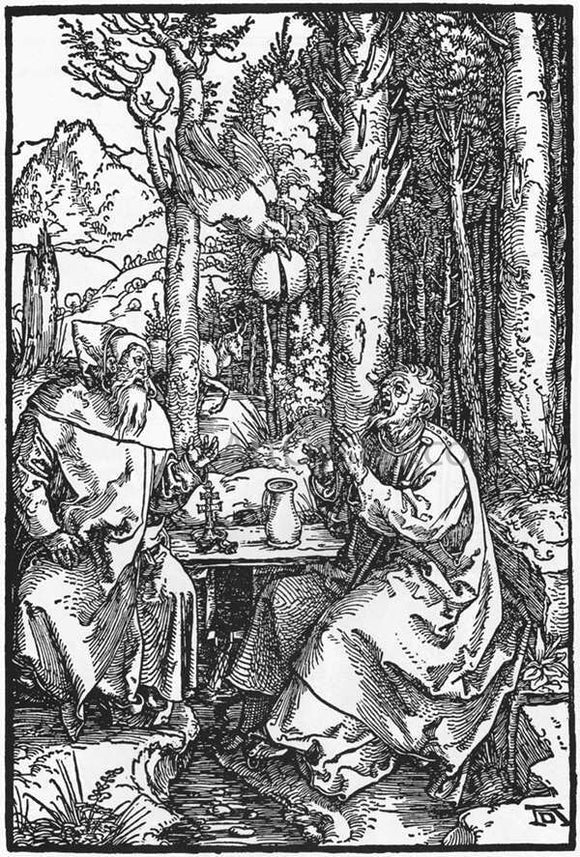 Albrecht Durer The Hermits St Anthony and St Paul - Canvas Art Print
