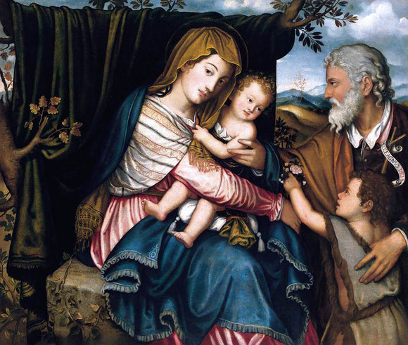 Niccolo Frangipane The Holy Family with the Infant St John - Canvas Art Print