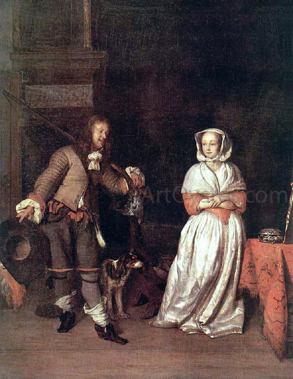 Gabriel Metsu The Hunter's Gift - Canvas Art Print