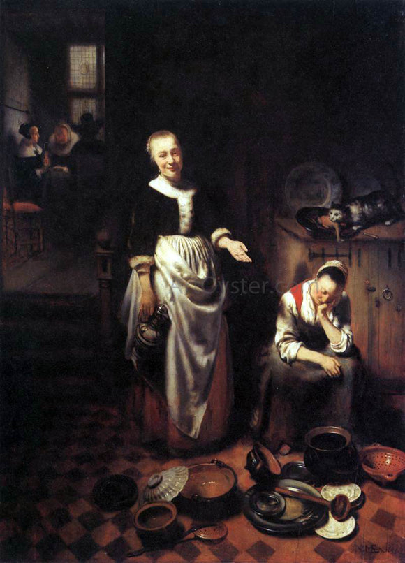 Nicolaes Maes The Idle Servant - Canvas Art Print
