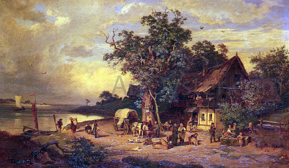 Rudolphe Heinrich Schuster The Inn at the Estuary - Canvas Art Print