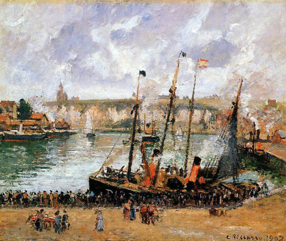 Camille Pissarro The Inner Harbor, Dieppe: High Tide, Morning, Grey Weather - Canvas Art Print