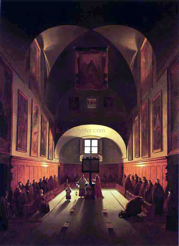Thomas Sully The Interior of the Capuchin Chapel In the Piazza Barberini (after Francois Marius Granet) - Canvas Art Print