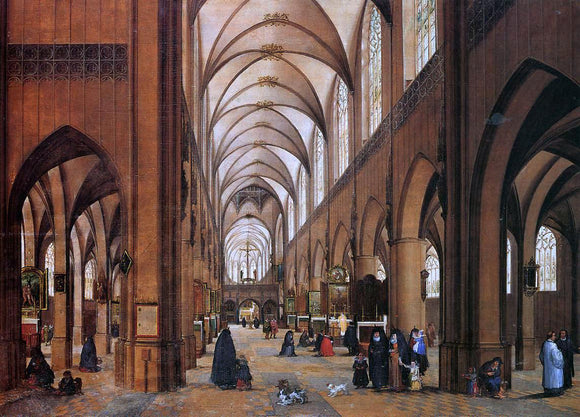 James Goodwyn Clonney The Interior of the Cathedral of Antwerp - Canvas Art Print