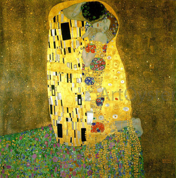 Gustav Klimt A Kiss - Canvas Art Print