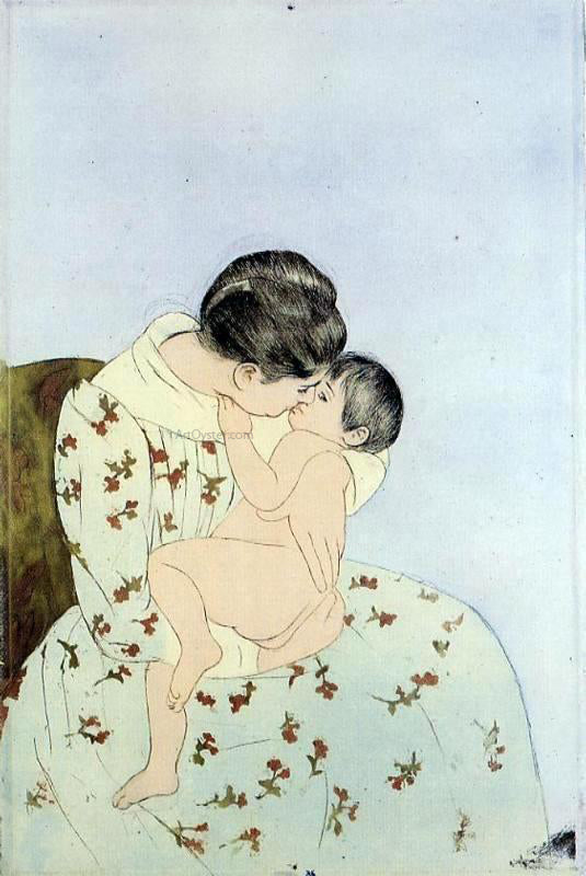 Mary Cassatt The Kiss - Canvas Art Print