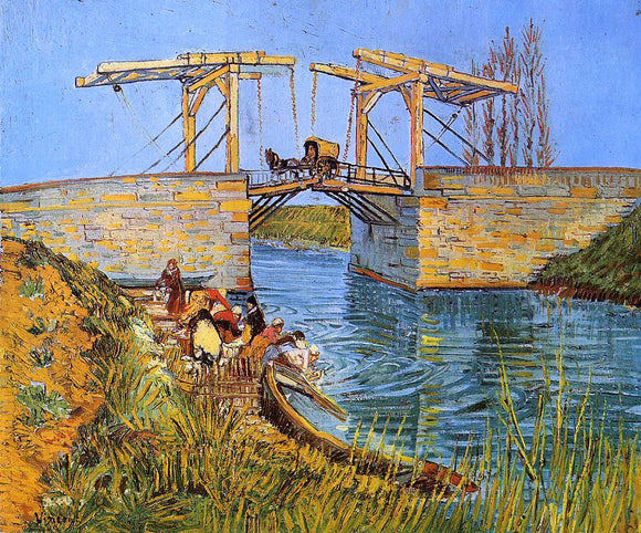 Vincent Van Gogh The Langlois Bridge at Arles with Women Washing (also known as Bridge at Arles (Women Washing)) - Canvas Art Print