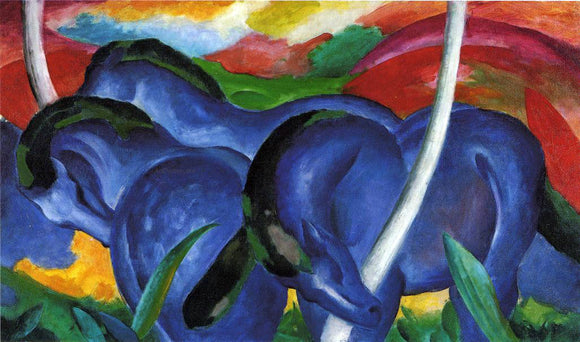 Franz Marc The Large Blue Horses - Canvas Art Print