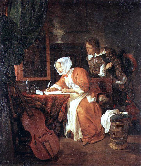 Gabriel Metsu The Letter-Writer Surprised - Canvas Art Print