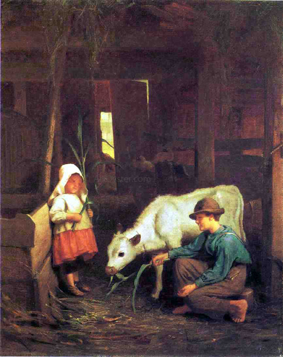 George Cochran Lambdin The Little White Heifer - Canvas Art Print
