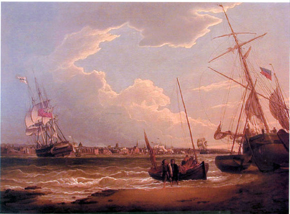 Robert Salmon The Liverpool in the Mersey (also known as Beating Up the Mersey) - Canvas Art Print