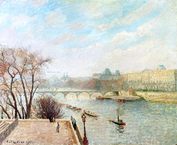 Camille Pissarro The Louvre, Winter Sunlight, Morning, 2nd Version - Canvas Art Print