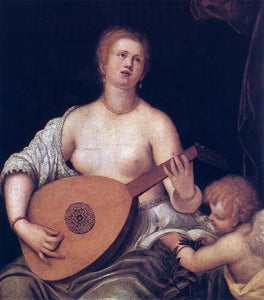 Micheli Parrasio The Lute-playing Venus with Cupid - Canvas Art Print