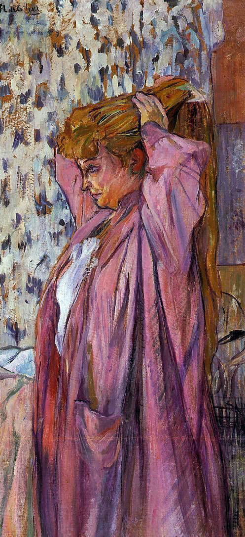 Henri De Toulouse-Lautrec The Madame Redoing Her Bun - Canvas Art Print