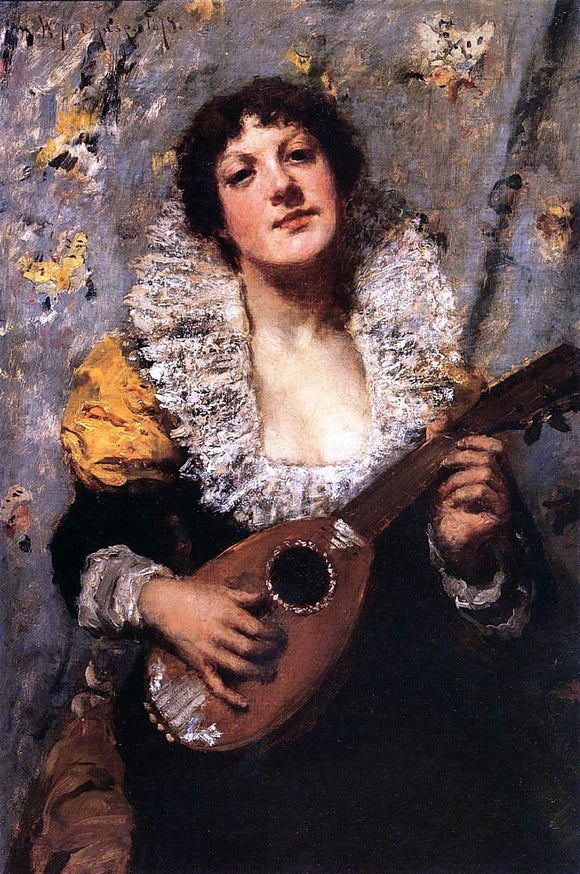 William Merritt Chase The Mandolin Player - Canvas Art Print