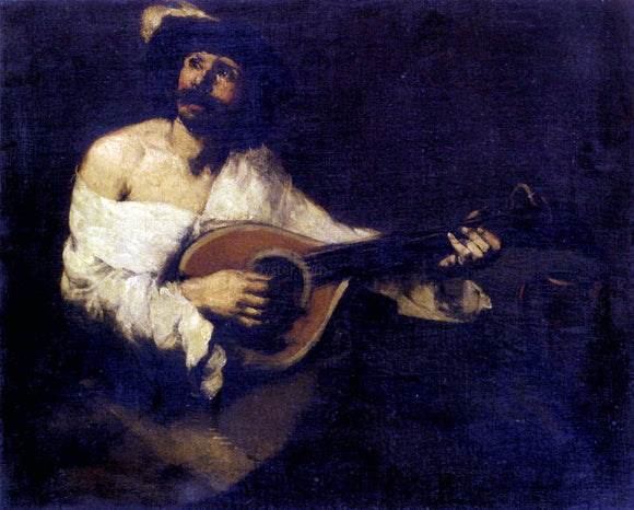 Theodule Ribot The Mandolin Player - Canvas Art Print