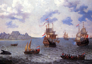 Adam Willaerts The Man-o'-War 'Amsterdam' and other Dutch Ships in Table Bay - Canvas Art Print