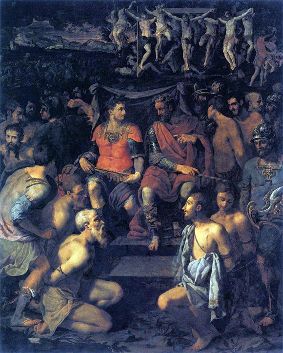 Michele Tosini The Martyrdom of the Ten Thousand - Canvas Art Print