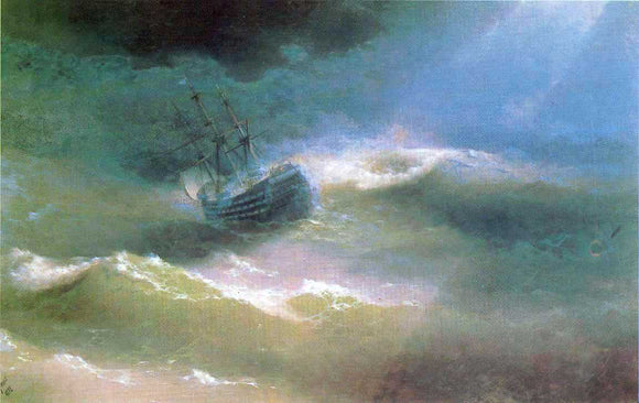 Ivan Constantinovich Aivazovsky The Mary Caught in a Storm - Canvas Art Print