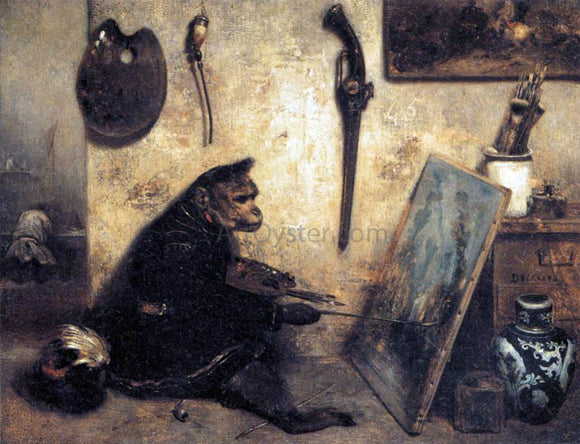 Alexandre Gabriel Decamps A Monkey Painter - Canvas Art Print