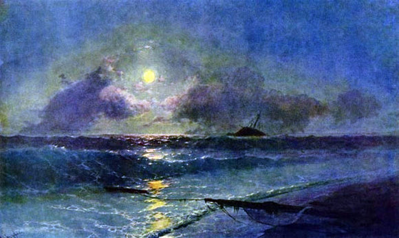 Ivan Constantinovich Aivazovsky The Moonrise in Feodosiya - Canvas Art Print