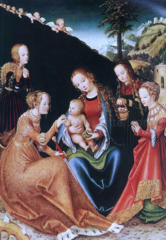 The Elder Lucas Cranach The Mystic Marriage of St Catherine - Canvas Art Print