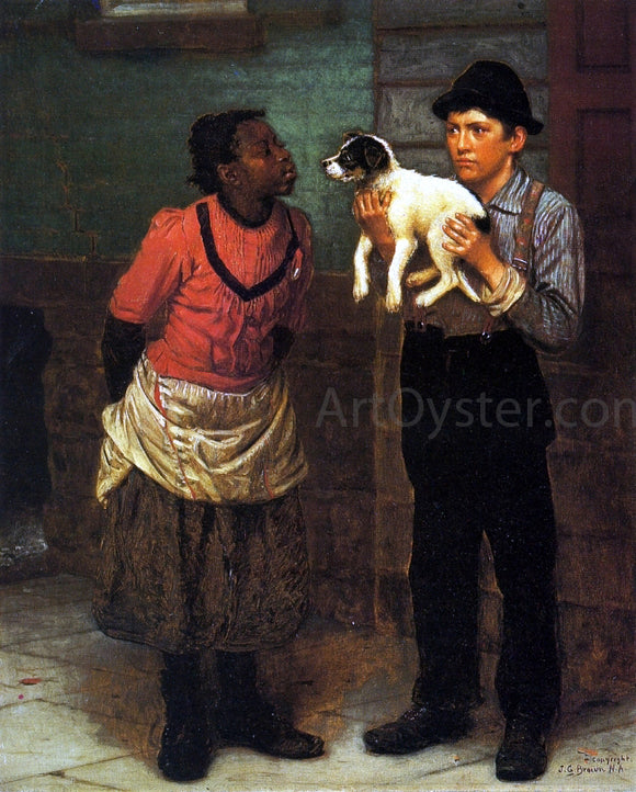 John George Brown The New Puppy - Canvas Art Print