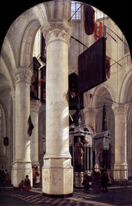 Gerard Houckgeest The Nieuwe Kerk in Delft with the Tomb of William the Silent - Canvas Art Print