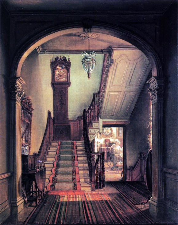 Edward Lamson Henry The Old Clock on the Stairs - Canvas Art Print