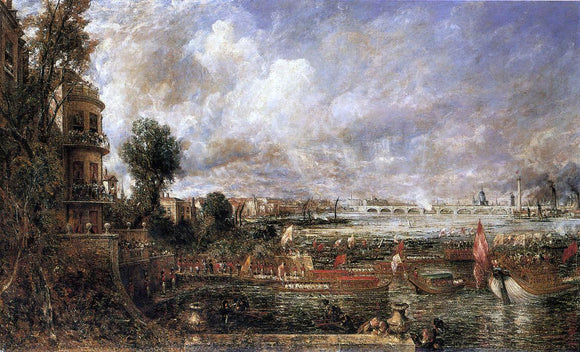 John Constable The Opening of Waterloo Bridge Seen from Whitehall Stairs, June 18th 1817 - Canvas Art Print