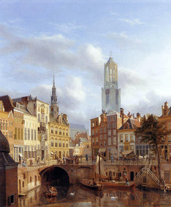 Georg-Gillis Van Haanen The Oudegracht with a View of the Old Town Hall and the Dom Tower beyond, Utrecht - Canvas Art Print