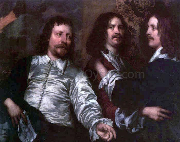 William Dobson The Painter with Sir Charles Cottrell and Sir Balthasar Gerbier - Canvas Art Print