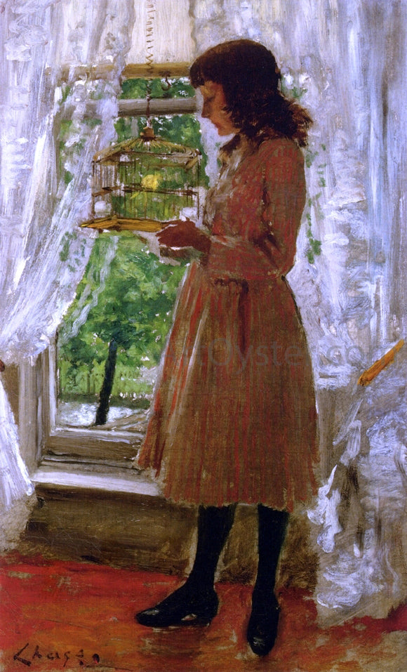 William Merritt Chase The Pet Canary - Canvas Art Print