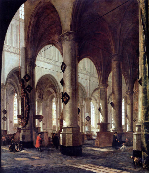 Hendrick Cornelisz Van Vliet The Pieterskerk in Leiden - Canvas Art Print