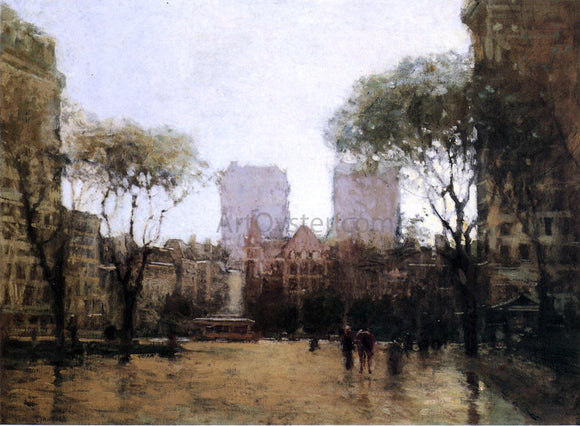Paul Cornoyer The Plaza at 59th Street - Canvas Art Print