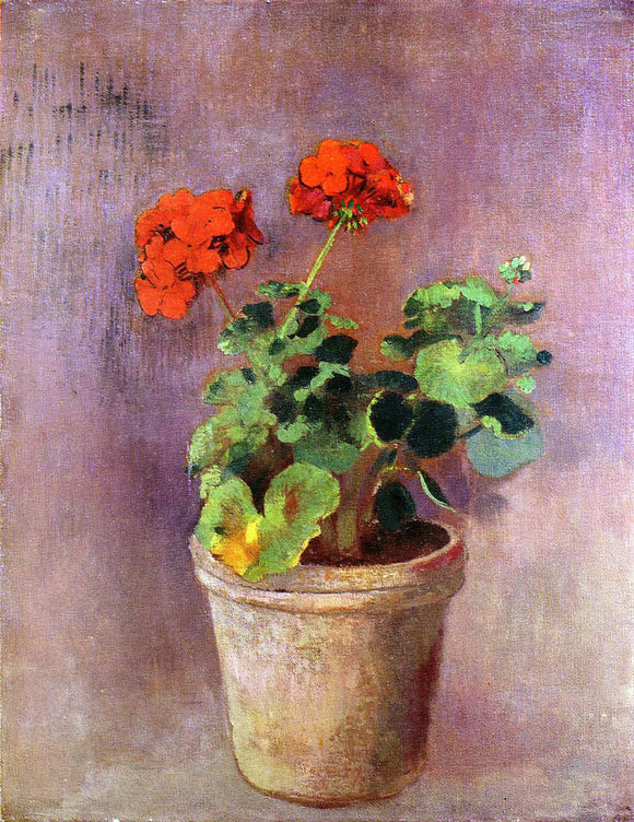 Odilon Redon The Pot of Geraniums - Canvas Art Print