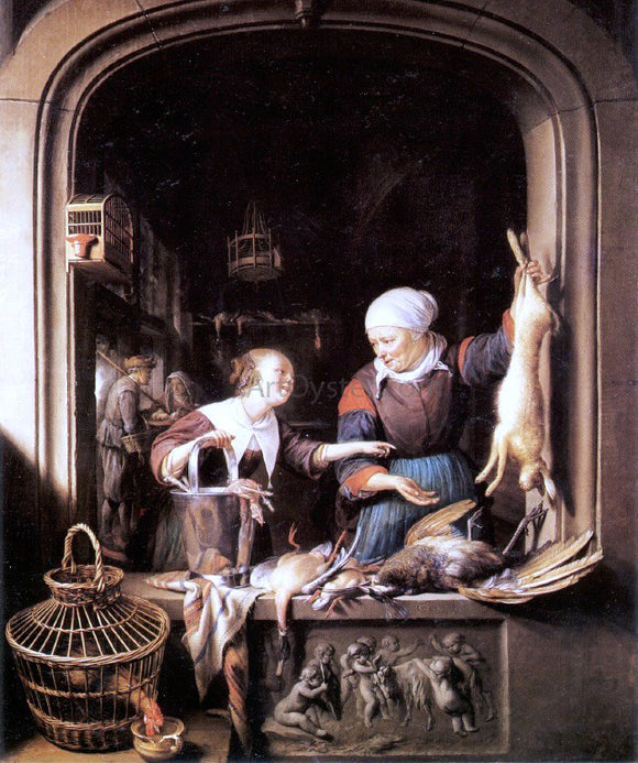 Gerrit Dou The Poulterer's Shop - Canvas Art Print