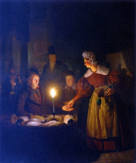 Petrus Van Schendel The Poultry Seller - Canvas Art Print
