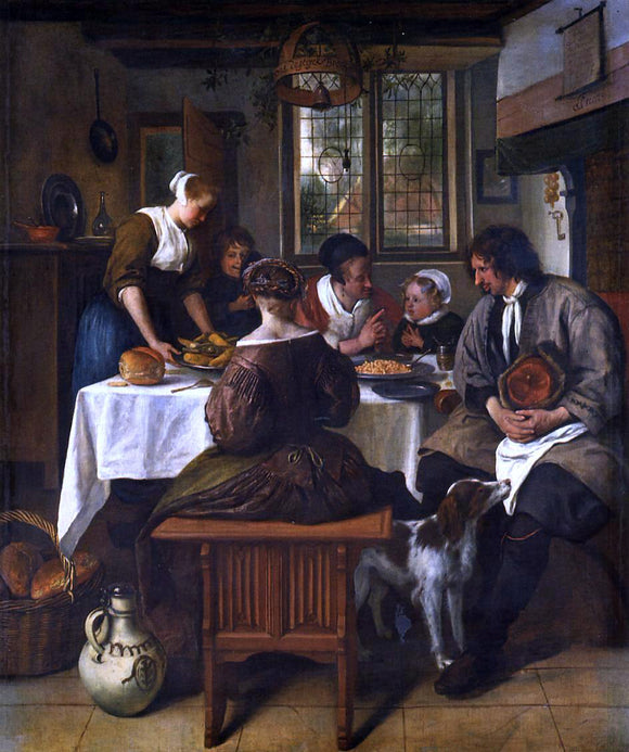 Jan Steen The Prayer Before the Meal - Canvas Art Print