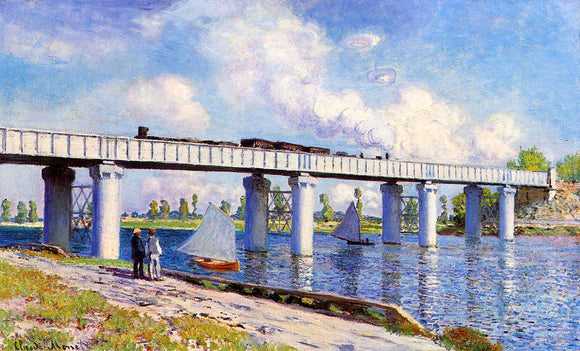 Claude Oscar Monet The Railroad Bridge at Argenteuil - Canvas Art Print