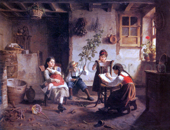 Paul Seignac The Reading Lesson - Canvas Art Print