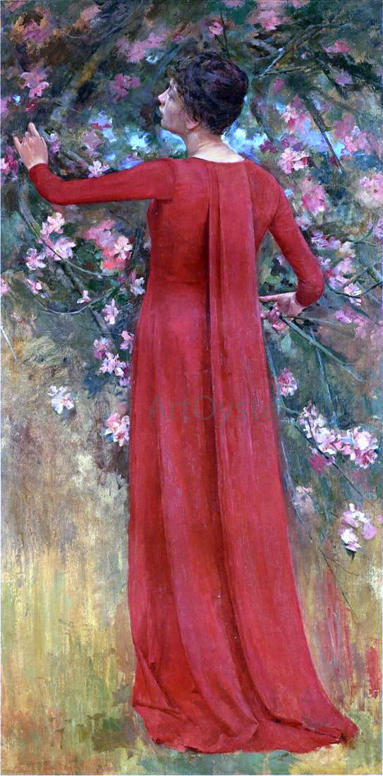 Theodore Robinson The Red Gown (also known as His Favorite Model) - Canvas Art Print