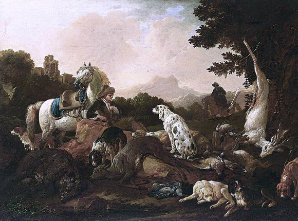 Philipp Peter Roos The Rest After the Hunt - Canvas Art Print